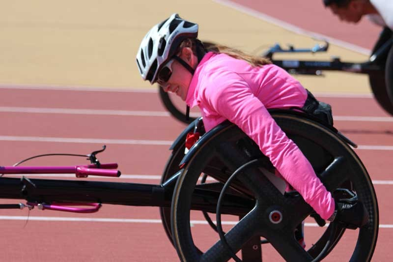 young lady in wheelchair athletics