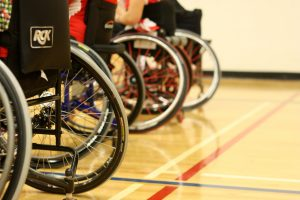 sport wheelchairs in a gymnasium