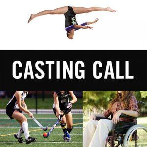 female gymnast performing aerial, female field hockey players, woman in wheelchair