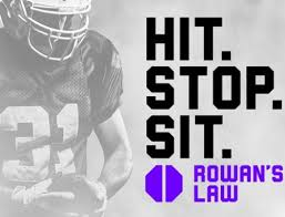 Image of a football player holding a football with the Rowan's Law logo and the words Hit. Stop. Sit. in bold
