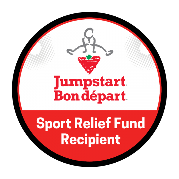 A circular white and red badge read 'Jumpstart Bon départ Sport Relief Fund Recipient' The Canadian Tire Jumpstart logo is featured